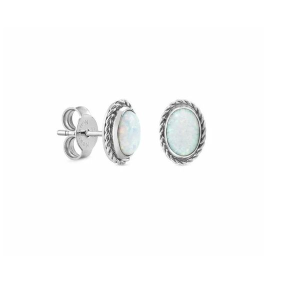 Natural Opal Earrings in Sterling Silver Conti Jewelers Endwell, NY