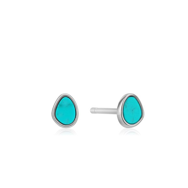 Silver Tidal Turquoise Stud Earrings Conti Jewelers Endwell, NY