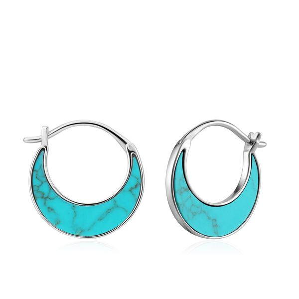 Silver Tidal Turquoise Crescent Earrings Conti Jewelers Endwell, NY
