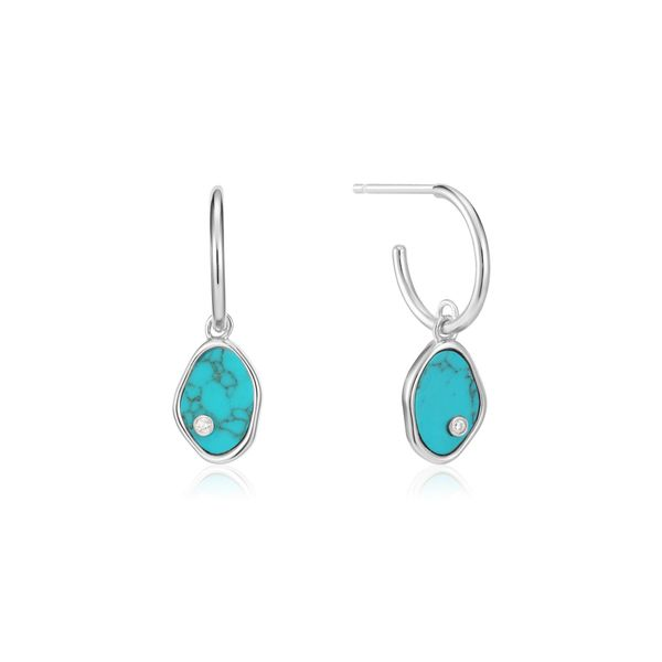 Silver Tidal Turquoise Mini Hoop Earrings Conti Jewelers Endwell, NY
