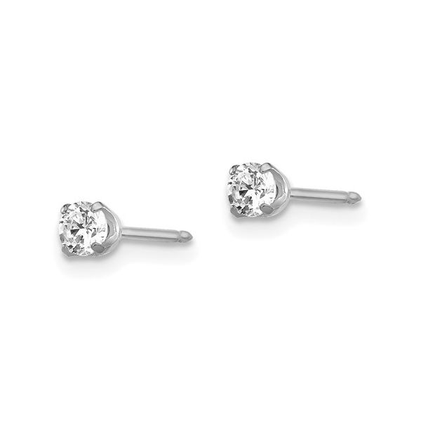 Inverness 14k White Gold 3mm CZ Post Earrings Image 2 Conti Jewelers Endwell, NY