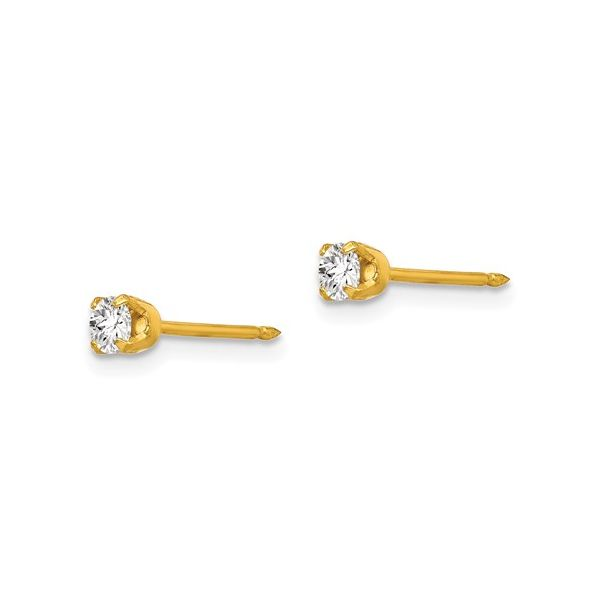 Inverness 14k 3mm CZ Earrings Image 2 Conti Jewelers Endwell, NY