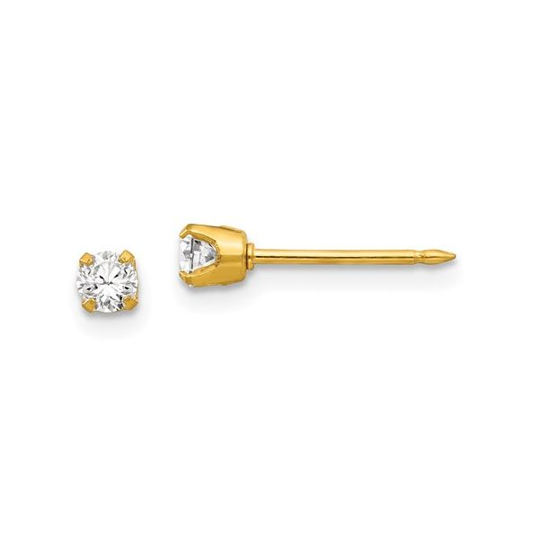 Inverness 14k 3mm CZ Earrings Conti Jewelers Endwell, NY