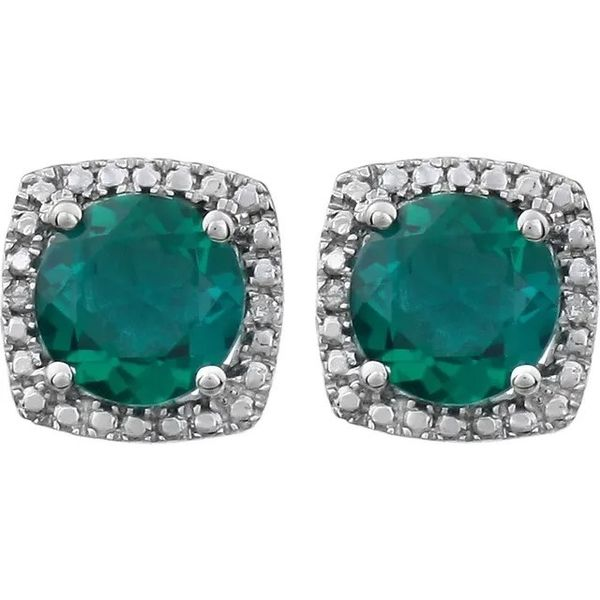 Sterling Silver Lab-Created Emerald & .015 CTW Diamond Earrings Image 2 Conti Jewelers Endwell, NY