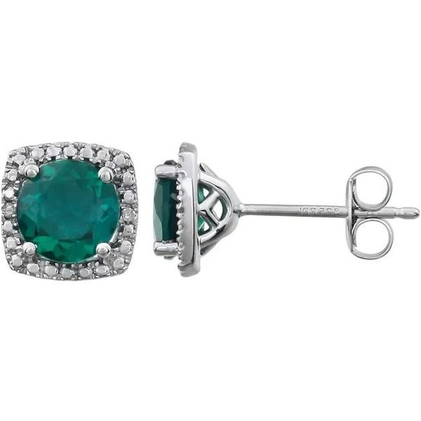 Sterling Silver Lab-Created Emerald & .015 CTW Diamond Earrings Conti Jewelers Endwell, NY
