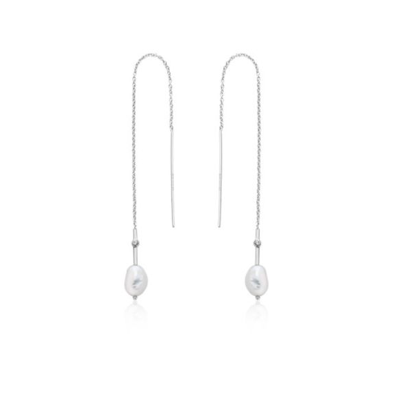 Silver Pearl Threader Earrings Conti Jewelers Endwell, NY