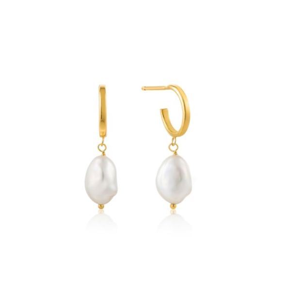 Gold Pearl Mini Hoop Earrings Conti Jewelers Endwell, NY