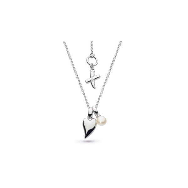 Kit Heath Desire Kiss Crush Mini Heart Rhodium Plate Freshwater Pearl Briolette Necklace Conti Jewelers Endwell, NY