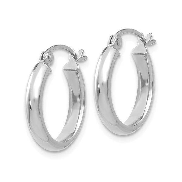 14k White Gold Round Tube Hoop Earrings Conti Jewelers Endwell, NY