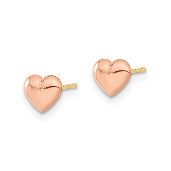 14k Madi K Rose Gold Heart Post Earrings Image 2 Conti Jewelers Endwell, NY