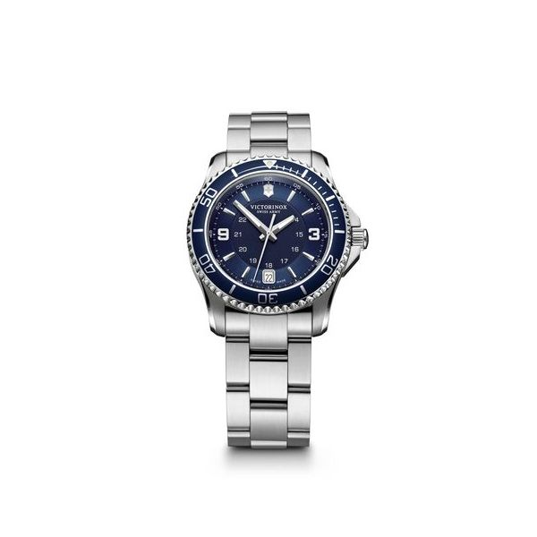 Maverick Small with Blue Bezel and Stainless Steel Bracelet Conti Jewelers Endwell, NY