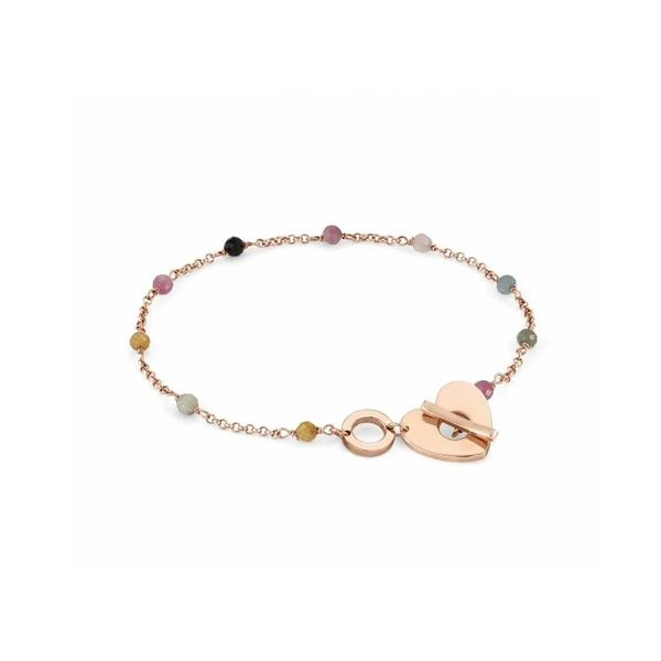 Mon Amour Heart & Gemstones Bracelet plated in 22k Rose Gold Conti Jewelers Endwell, NY