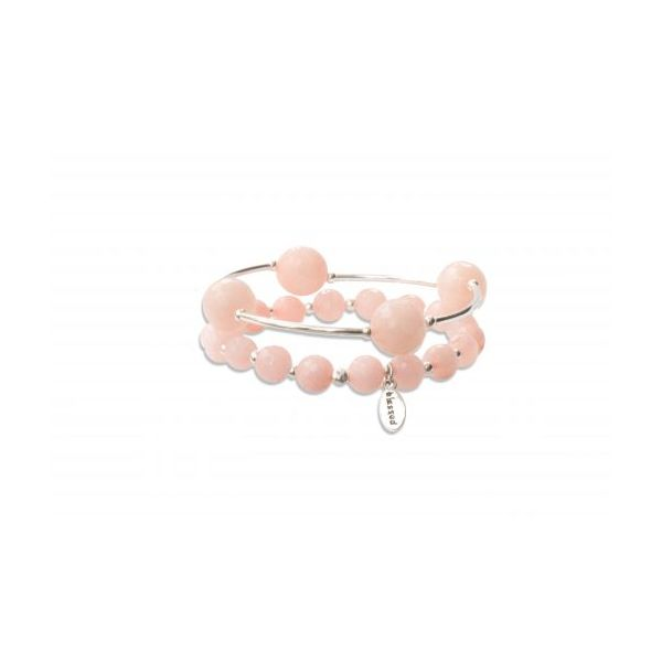 Faceted Rose Water Jade Blessing Bracelet Image 3 Conti Jewelers Endwell, NY