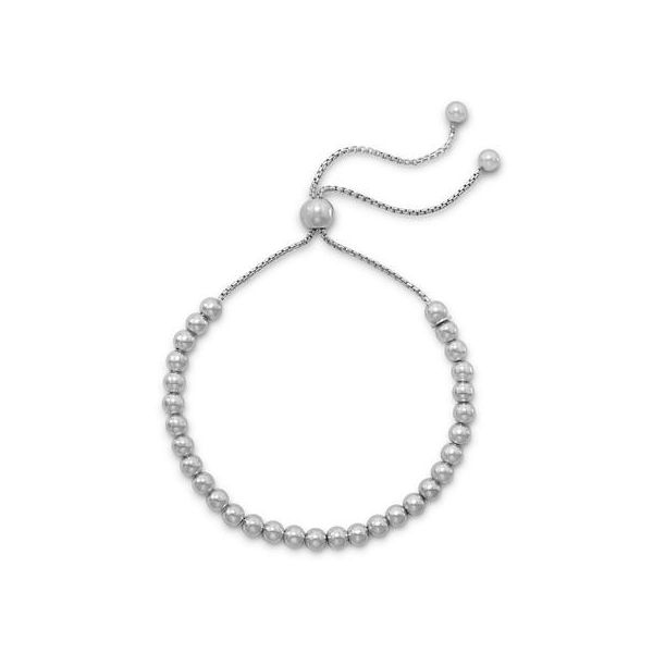 Rhodium Plated Round Bead Bolo Bracelet Conti Jewelers Endwell, NY