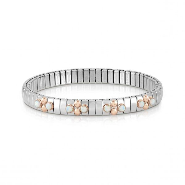 Extension Bracelet with 4 Meshes of Stones in Stainless Steel & Rose Gold Conti Jewelers Endwell, NY