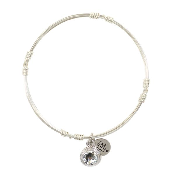 April Birthstone Bangle Stacker in Silver Conti Jewelers Endwell, NY