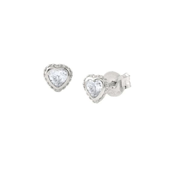Heart Stud Earrings in Sterling Silver Conti Jewelers Endwell, NY