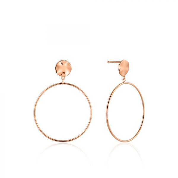 Rose Gold Ripple Front Hoop Earrings Conti Jewelers Endwell, NY