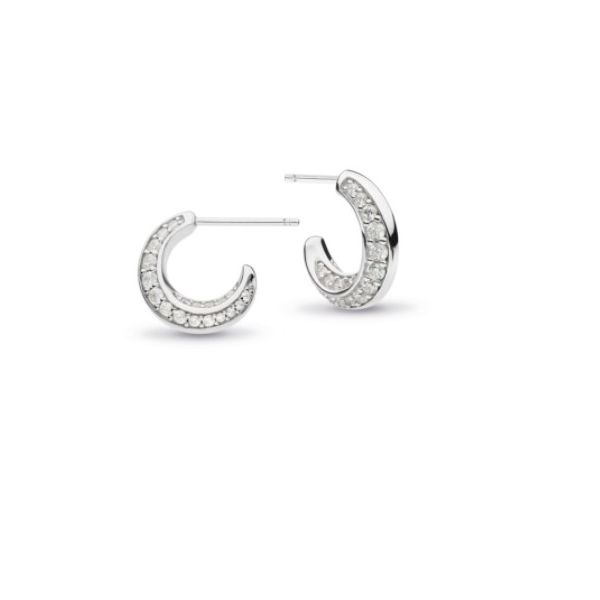 Bevel Cirque CZ Pavé Semi-Hoop Stud Earrings Conti Jewelers Endwell, NY