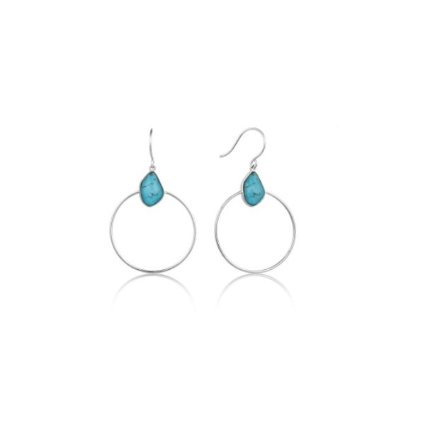Turquoise Front Hoop Silver Earrings Conti Jewelers Endwell, NY