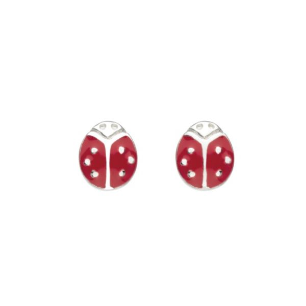 Girls Graceful Ladybird Enamel Stud Earrings Conti Jewelers Endwell, NY