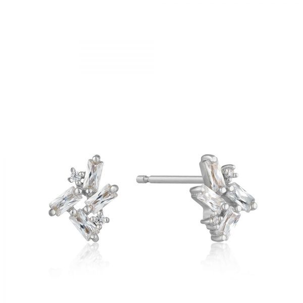 Silver Cluster Stud Earrings Conti Jewelers Endwell, NY