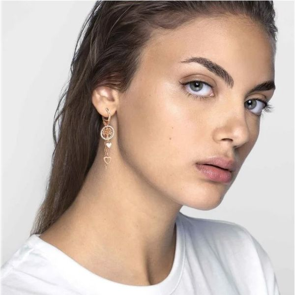 Long Vita Earrings with Hearts in Rose Gold Image 2 Conti Jewelers Endwell, NY
