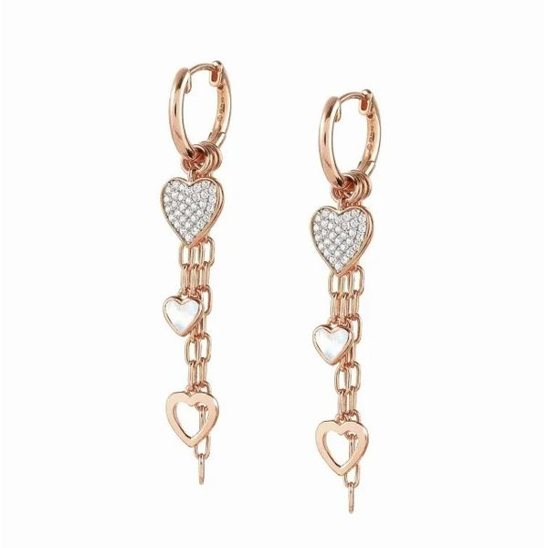 Long Vita Earrings with Hearts in Rose Gold Conti Jewelers Endwell, NY