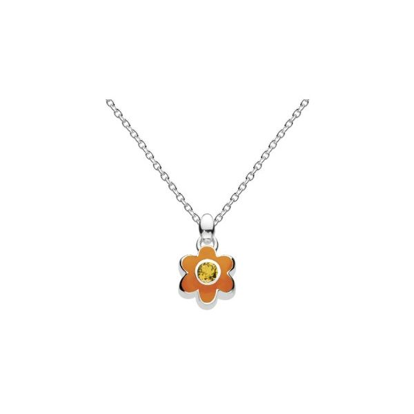 Girls November Citrine CZ Birthday Flower Necklace Conti Jewelers Endwell, NY