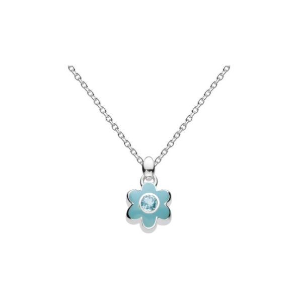 Girls March Aquamarine CZ Birthday Flower Necklace Conti Jewelers Endwell, NY