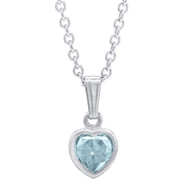 Girls Heart Pendant with December CZ in Sterling Silver Image 2 Conti Jewelers Endwell, NY