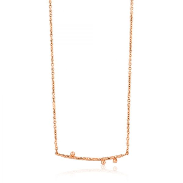 Rose Gold Texture Solid Bar Necklace Conti Jewelers Endwell, NY