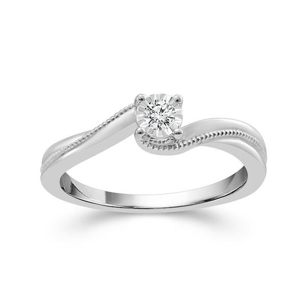 Sterling Silver .10ctw Round Illusion Set Diamond By-Pass Style Promise Ring Coughlin Jewelers St. Clair, MI