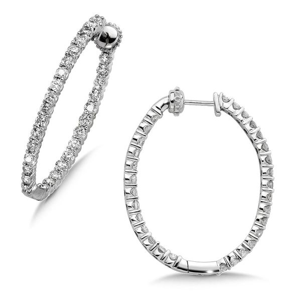 Diamond Oval Reflection Hoops - 3ctw Coughlin Jewelers St. Clair, MI