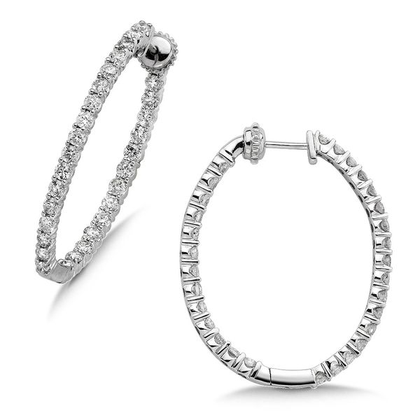 Diamond Oval Reflection Hoop Earrings - 1ctw Coughlin Jewelers St. Clair, MI