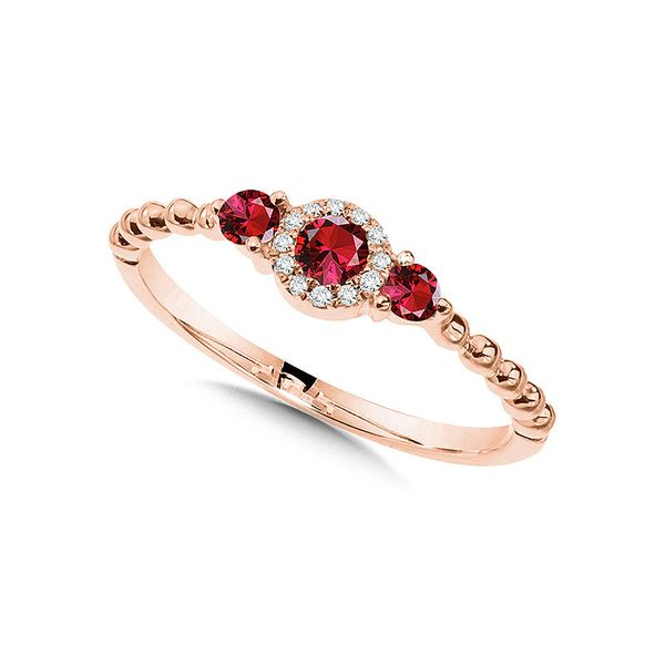 Beaded 3 Stone Halo Diamond & Ruby Ring Coughlin Jewelers St. Clair, MI
