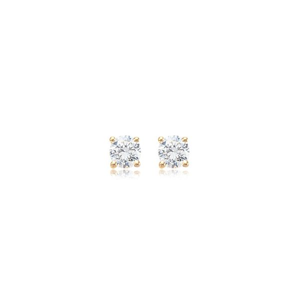 14k Yellow Gold 2ctw Round CZ Stud Earrings Coughlin Jewelers St. Clair, MI