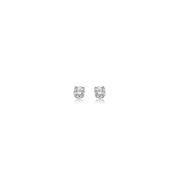 14k White Gold 4 Prong .25ctw Round CZ Stud Earrings Coughlin Jewelers St. Clair, MI