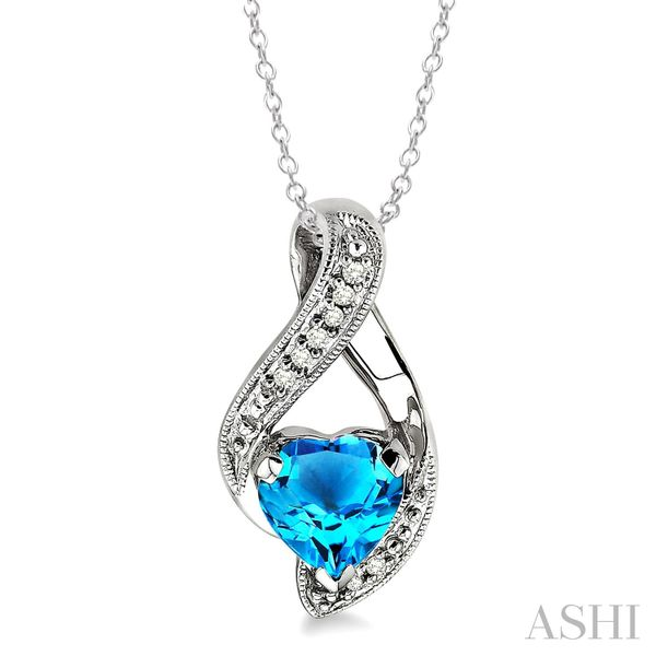 Heart Shape Silver Diamond & Gemstone Pendant Coughlin Jewelers St. Clair, MI
