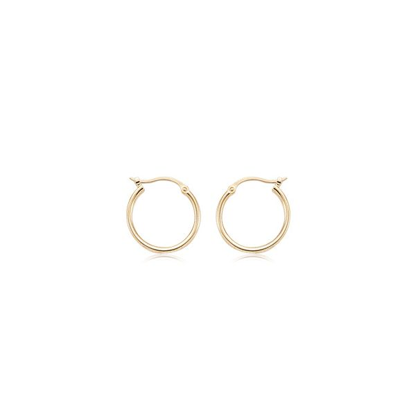 14k Yellow Gold 1.5 x 15mm S/D Hoop Earring Coughlin Jewelers St. Clair, MI