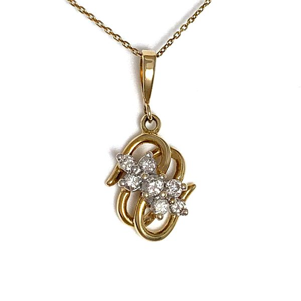Gold Swirl & Diamond Pendant Coughlin Jewelers St. Clair, MI