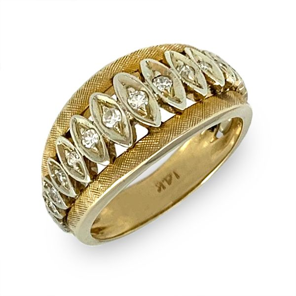 Harlequin Pattern Gold Band with Diamonds Coughlin Jewelers St. Clair, MI