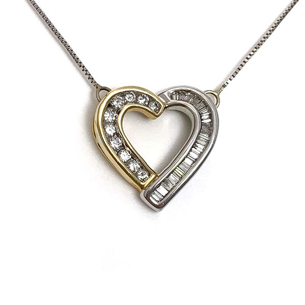Two-Tone Diamond Open Heart Necklace Coughlin Jewelers St. Clair, MI
