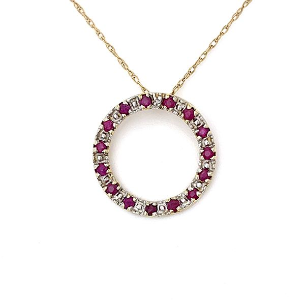 Ruby and Diamond Circle Pendant Coughlin Jewelers St. Clair, MI