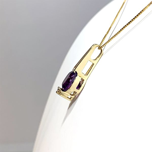 Round Amethyst Pendant Image 2 Coughlin Jewelers St. Clair, MI