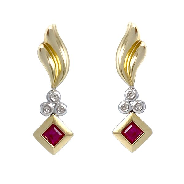 Ruby and Diamond Drop Earrings Coughlin Jewelers St. Clair, MI
