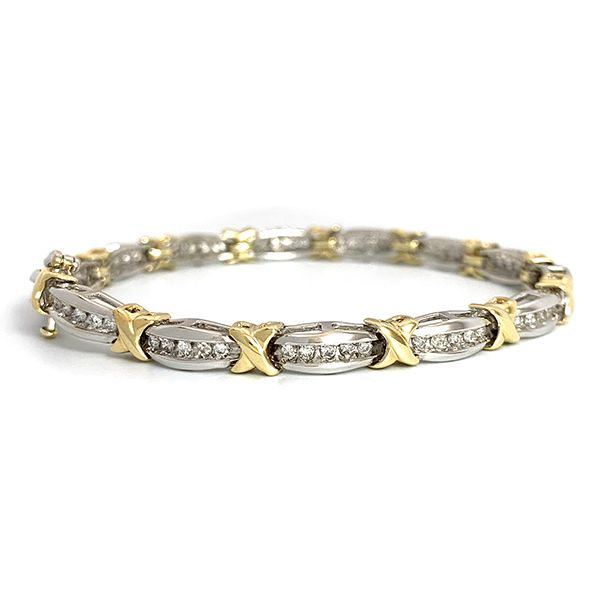 Two-Tone Diamond X Bracelet Coughlin Jewelers St. Clair, MI