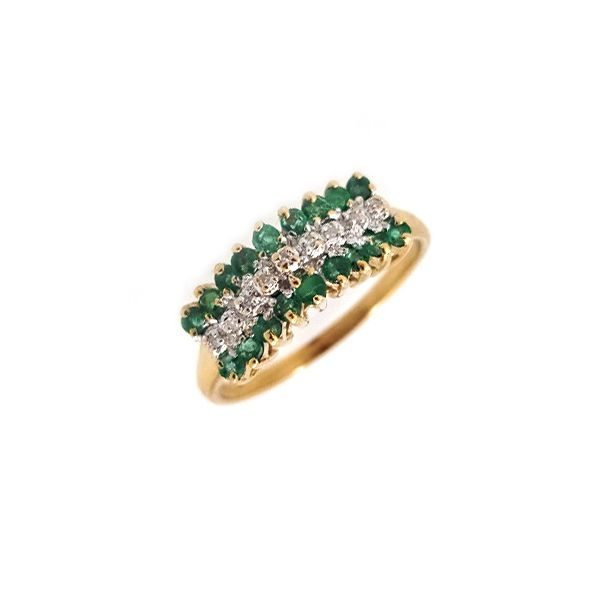 3-Row Emerald & Diamond Ring Coughlin Jewelers St. Clair, MI