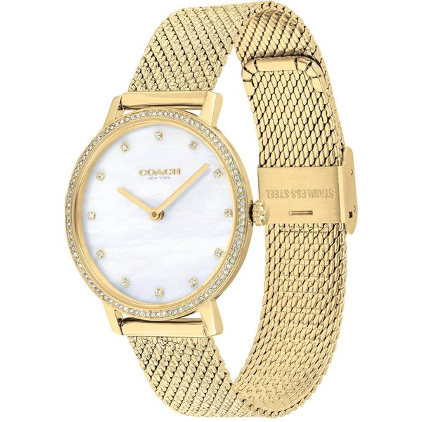 Coach Audrey Mother Of Pearl Dial Gold-Tone Swarovski Accent Mesh Bracelet Watch Image 2 Coughlin Jewelers St. Clair, MI