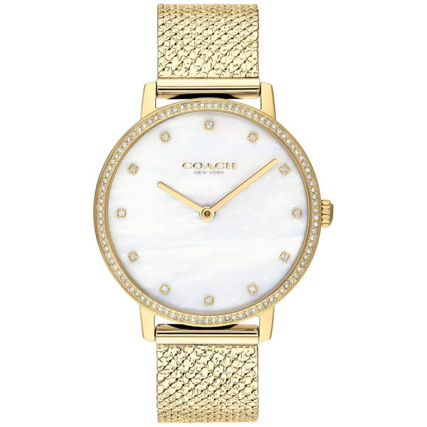 Coach Audrey Mother Of Pearl Dial Gold-Tone Swarovski Accent Mesh Bracelet Watch Coughlin Jewelers St. Clair, MI